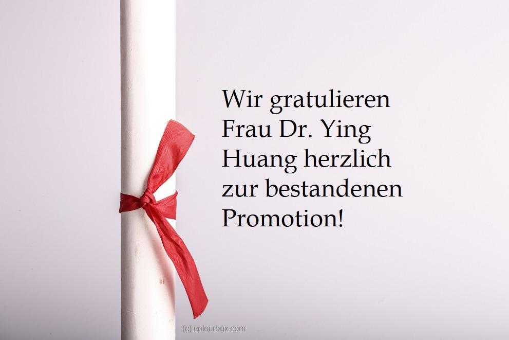 Das CGS gratuliert Frau Dr. Ying Huang!